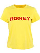 cheap -Women's Daily Street chic Spring Summer T-shirt,Letter Round Neck Short Sleeve Spandex