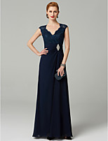 cheap -A-Line V-neck Floor Length Chiffon Lace Mother of the Bride Dress with Beading Side Draping by LAN TING BRIDE®