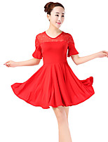 cheap -Latin Dance Dresses Women's Training Polyester Paillette Split Joint Short Sleeves High Dress