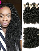 cheap -6 pieces Natural Black Kinky Curly Brazilian Human Hair Weaves Hair Extensions 0.3kg