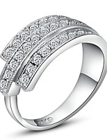 cheap -Women's Band Ring Cubic Zirconia Silver Gold Plated Circle Simple Elegant Birthday Going out Costume Jewelry
