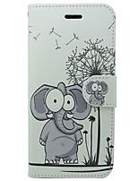 baratos -Capinha Para Apple iPhone X iPhone 8 iPhone 8 Plus Porta-Cartão Carteira Com Suporte Flip Capa Proteção Completa Elefante Desenho Animado