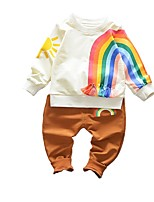 cheap -Girls' Daily Rainbow Clothing Set,Cotton Spring Long Sleeve Active Red Black Brown