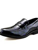 baratos -Homens sapatos Couro Envernizado Primavera Outono Conforto Mocassins e Slip-Ons para Ao ar livre Preto Preto/Vermelho Black / azul