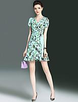 abordables -Femme Gaine Robe - A Volants, Fleur Col en V Mini