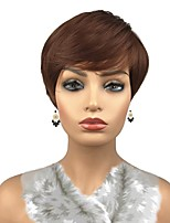 cheap -Synthetic Hair Wigs Straight Side Part Pixie Cut Celebrity Wig Natural Wigs Cosplay Wig Auburn
