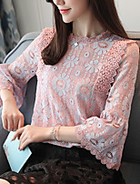 cheap -Women's Work Flare Sleeve Polyester Blouse - Solid, Lace Bow