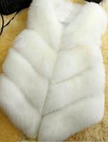 Недорогие -Жен. Повседневные Зима Весна Обычная Пальто с мехом V-образный вырез, Простой Однотонный Искусственный шёлк