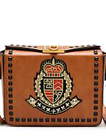 cheap -Women's Bags PU Shoulder Bag Embossed for Casual Office & Career All Seasons Black Coffee Brown Khaki