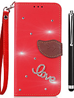 cheap -Case For OPPO Oppo R9s Oppo R11s Card Holder Wallet Rhinestone with Stand Flip Full Body Cases Solid Color Hard PU Leather for OPPO R11s