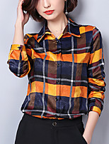 cheap -Women's Work Slim Shirt - Check, Patchwork Shirt Collar