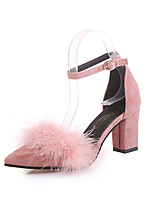 cheap -Women's Shoes Nubuck leather Spring Comfort Heels Chunky Heel Pointed Toe Feather for Casual Black Beige Green Pink