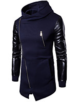 cheap -Men's Sports Long Hoodie - Solid Hooded Stand
