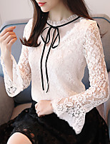 cheap -Women's Work Flare Sleeve Polyester Blouse - Solid, Lace Bow Crew Neck