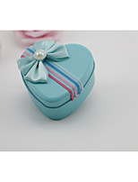 preiswerte -Herz Square Shape Eisen vernickelt Geschenke Halter mit Satin Schleife Perlen Verzierung Geschenkboxen - 1pc