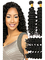 cheap -6 pieces Natural Black Deep Wave Brazilian Human Hair Weaves Hair Extensions 0.3kg