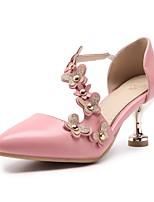 preiswerte -Damen Schuhe Kunstleder Frühling Sommer Komfort High Heels Maßgefertigter Absatz Spitze Zehe Niete für Normal Party & Festivität Weiß