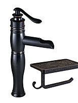 cheap -Antique Centerset Waterfall Ceramic Valve Single Handle One Hole Oil-rubbed Bronze, Faucet Set
