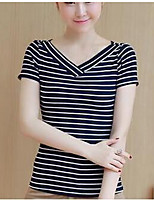 cheap -Women's Simple T-shirt - Striped V Neck