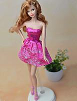 Недорогие -Платья Платья Для Кукла Барби Пурпурный текстильный Эластичный сатин Платье Для Девичий игрушки куклы