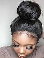 Недорогие -Натуральные волосы Лента спереди Парик Бразильские волосы Прямой С пушком 130% плотность Необработанные 100% девственница Парик в