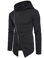 cheap -Men's Daily Solid Color Hooded Hoodie Regular, Long Sleeves Spring Polyester
