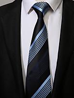 cheap -Men's Polyester Necktie, Work Casual Striped All Seasons Black