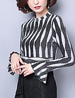 cheap -Women's Work Flare Sleeve Slim Blouse - Striped Color Block, Ruffle Patchwork