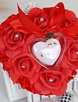 abordables -Satin Oreiller d'anneau Romance Mariage Toutes les Saisons