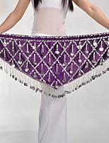 baratos -Dança do Ventre Comum Mulheres Treino Poliéster Cinto Lantejoula Xale de Dança do Ventre