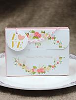 preiswerte -Quader Kartonpapier Geschenke Halter mit Verstreute Perlen mit Blumen Geschenktaschen - 1pc