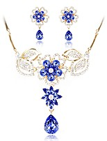 cheap -Women's Imitation Diamond Jewelry Set Earrings - Ordinary Fashion Blue Jewelry Set Chain Necklace For Wedding Engagement