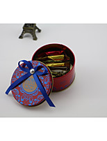 cheap -Circular Iron(nickel plated) Favor Holder with Satin Bow Favor Boxes - 1pc