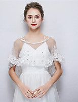 cheap -Sleeveless Tulle Wedding Party / Evening Women's Wrap With Faux Pearl Lace Crystal / Rhinestone Capelets