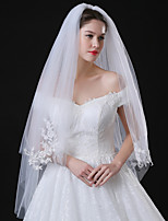 cheap -Two-tier Modern Style Bridal Princess Simple Style Wedding Wedding Veil Elbow Veils 53 Fringe Splicing Lace Tulle