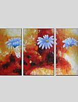 Недорогие -Ручная роспись Цветочные мотивы/ботанический Вертикальная панорама, Modern Hang-роспись маслом Украшение дома 3 панели