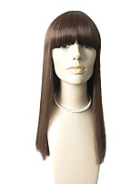 cheap -Synthetic Wig Straight With Bangs Natural Hairline Density Capless Brown Celebrity Wig Natural Wigs Synthetic Hair