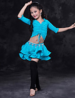 cheap -Belly Dance Outfits Children's Performance Spandex Ruching Half Sleeves Dropped Skirts Top