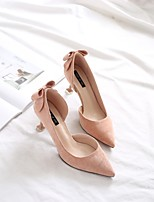 cheap -Women's Shoes Flocking Spring Fall Comfort Heels Kitten Heel Pointed Toe Bowknot for Casual Office & Career Black Pink