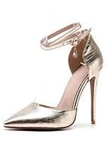 preiswerte -Damen Schuhe maßgeschneiderte Werkstoffe Frühling Sommer Knöchelriemen High Heels Stöckelabsatz Spitze Zehe Strass Schnalle für Hochzeit