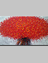 Недорогие -Ручная роспись 3D Цветочные мотивы/ботанический Горизонтальная, Modern Hang-роспись маслом Украшение дома 1 панель