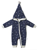 cheap -Baby Girls' Daily Sports Solid One-Pieces,Cotton Winter Fall Active Long Sleeve Royal Blue