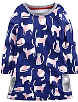 cheap -Girl's Daily Holiday Print Dress,Cotton All Season Long Sleeve Cute Casual Blue