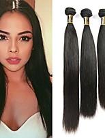 cheap -Brazilian Hair Straight Human Hair Weaves 3pcs Natural Color Hair Weaves