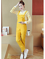 cheap -Women's Daily Going out Simple Active Round Neck Pant Long Sleeves Spring Summer Cotton
