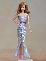 Недорогие -Платья Платья Для Кукла Барби Серебряный текстильный Эластичный сатин Платье Для Девичий игрушки куклы