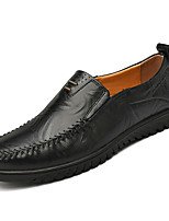 cheap -Men's Shoes Cowhide Spring Fall Moccasin Loafers & Slip-Ons for Casual Black Light Brown Dark Brown