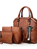 cheap -Women's Bags PU Bag Set 3 Pcs Purse Set Zipper for Casual Office & Career All Seasons Black Red Gray Purple Brown