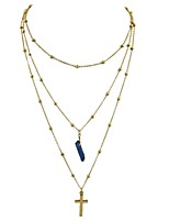 cheap -Women's Cross Shape Basic Fashion Layered Necklace , Imitation Tourmaline Alloy Layered Necklace Daily New Year Costume Jewelry