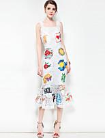 cheap -Women's Boho Trumpet/Mermaid Dress - Floral Color Block, Print Strap